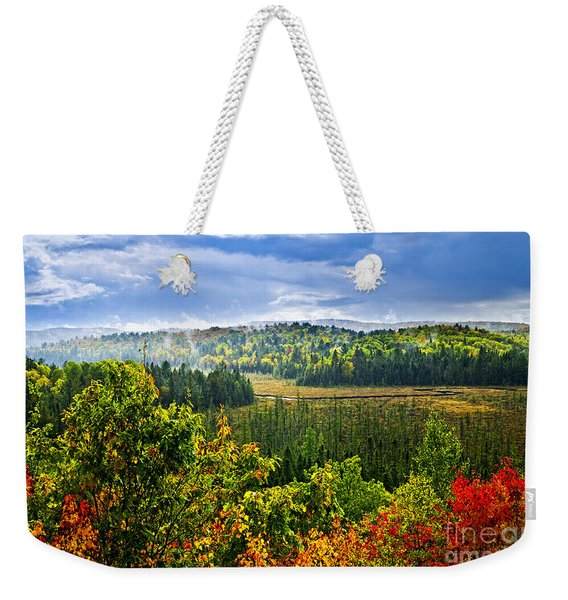 Fall Forest Rain Storm Weekender Tote Bag