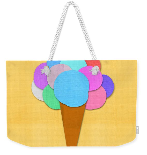 Ice Cream On Hand Made Paper Weekender Tote Bag