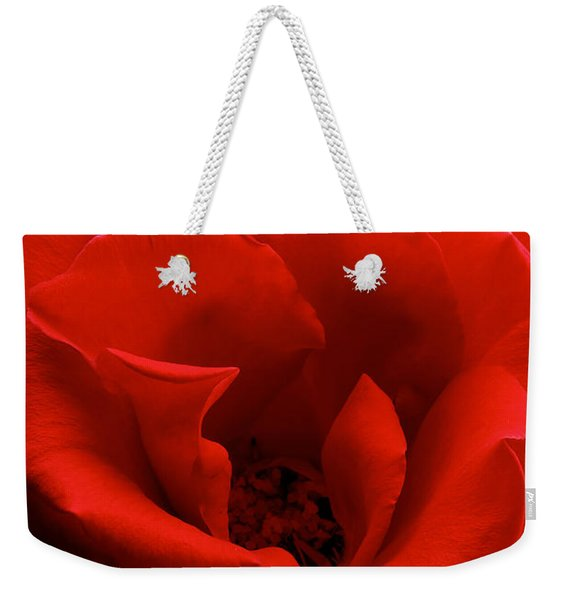 Photograph Of A Red Rose Weekender Tote Bag
