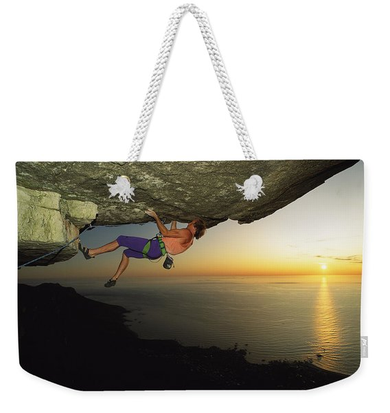 Todd Skinner Climbs A Big Roof On South Weekender Tote Bag