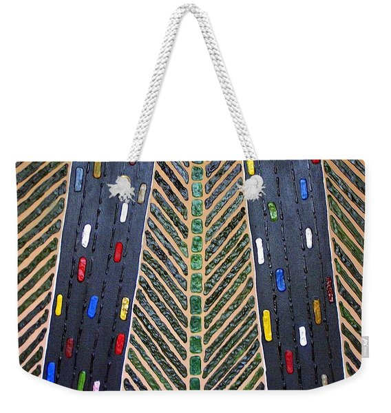 Weekender Tote Bag featuring the mixed media Traffic by Cynthia Amaral