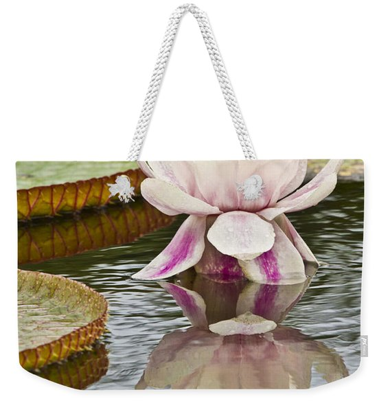 Victoria Amazonica Water Lily Flower Vertical Weekender Tote Bag