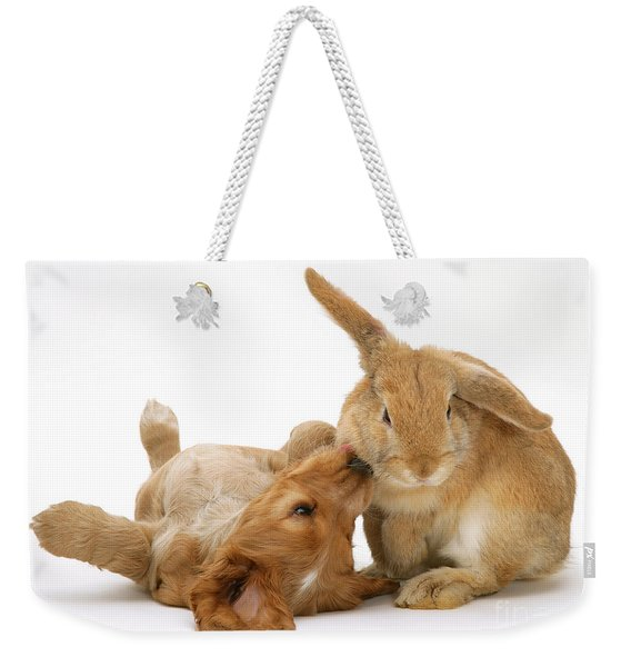 Rabbit And Puppy Weekender Tote Bag
