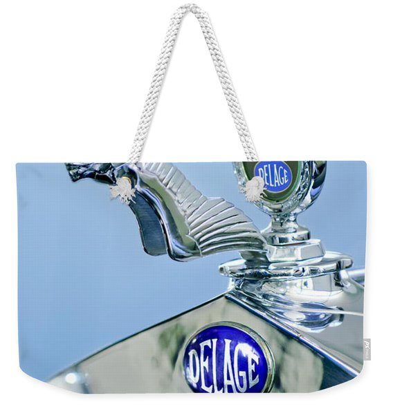 1933 Delage D8s Coupe Hood Ornament Weekender Tote Bag