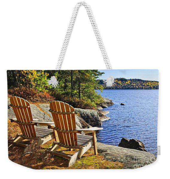 Adirondack Chairs At Lake Shore Weekender Tote Bag