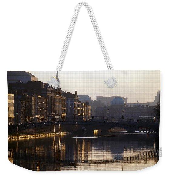 River Liffey, Dublin, Co Dublin, Ireland Weekender Tote Bag
