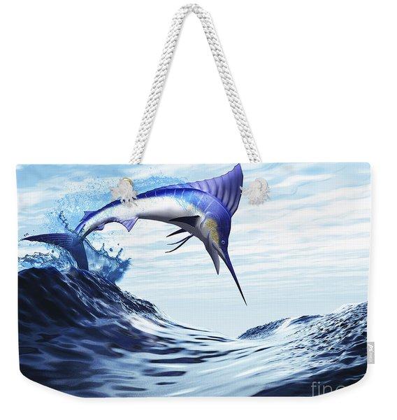 A Beautiful Blue Marlin Bursts Weekender Tote Bag