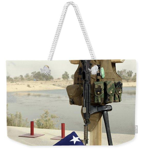 A Fallen Soldiers Gear Display Weekender Tote Bag