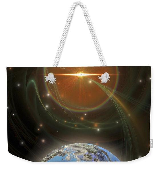 A Huge Sun Emits Solar Flares Weekender Tote Bag