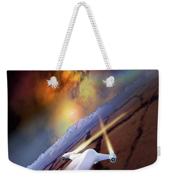 A Spacecraft Flys Over Another World Weekender Tote Bag