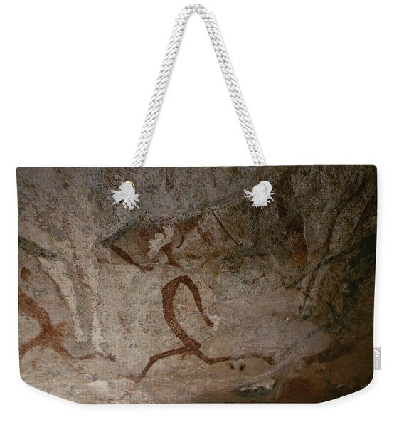 A View Of Running Men In A Cave Weekender Tote Bag