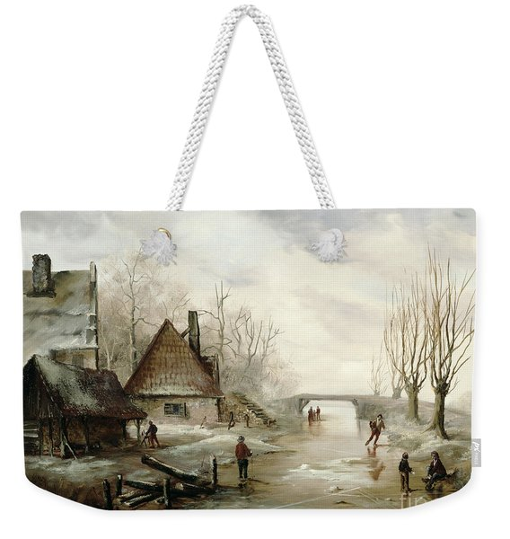 A Winter Landscape With Figures Skating Weekender Tote Bag