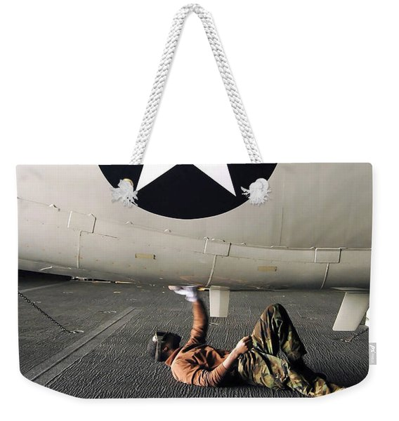Airman Cleans The Underside Of An E-2c Weekender Tote Bag