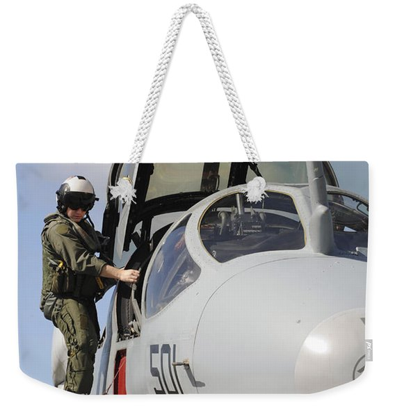 An Airman Makes A Final Look Over An Weekender Tote Bag