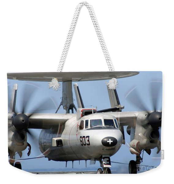 An E-2c Hawkeye Conducts An Arrested Weekender Tote Bag