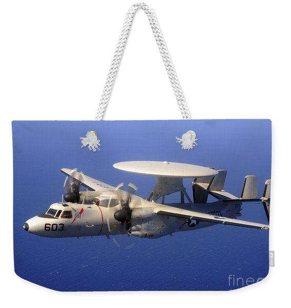 An E-2c Hawkeye Flying Over The Pacific Weekender Tote Bag