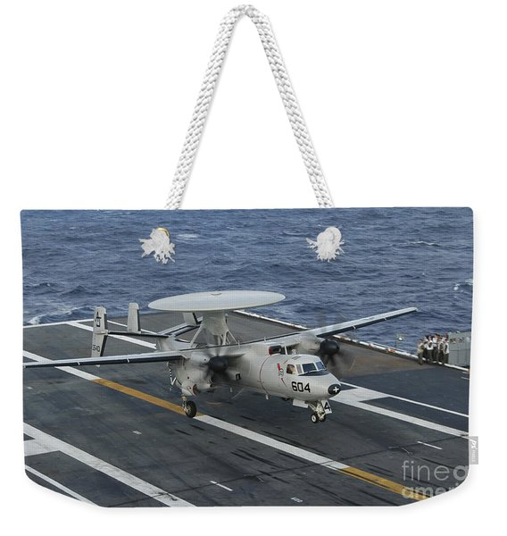 An E-2c Hawkeye Is Recovered Weekender Tote Bag