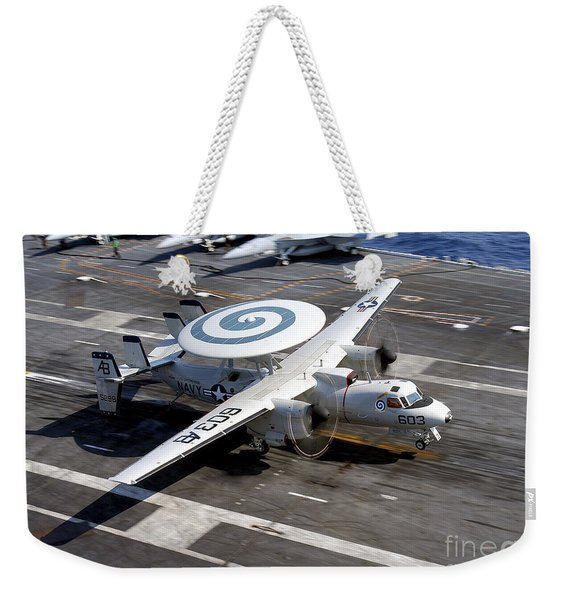 An E-2c Hawkeye Lands On The Flight Weekender Tote Bag