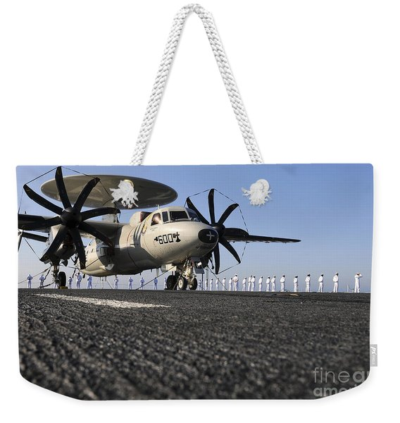 An E-2c Hawkeye Sits On The Flight Deck Weekender Tote Bag
