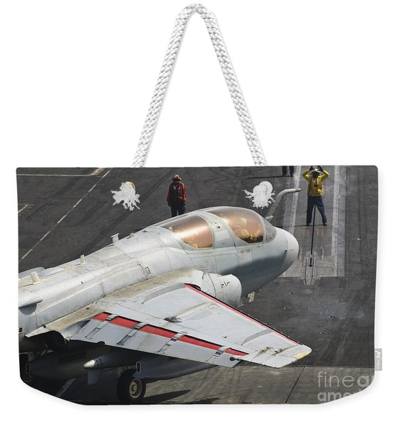 An Ea-6b Prowler Is Guided Onto Weekender Tote Bag