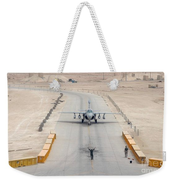 An Ea-6b Prowler Taxis To The Hangar Weekender Tote Bag