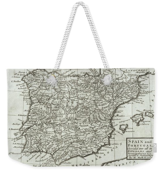 Antique Map Of Spain And Portugal Weekender Tote Bag