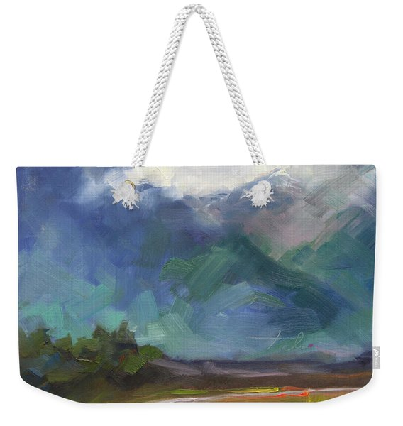 Weekender Tote Bag featuring the painting At The Feet Of Giants by Talya Johnson