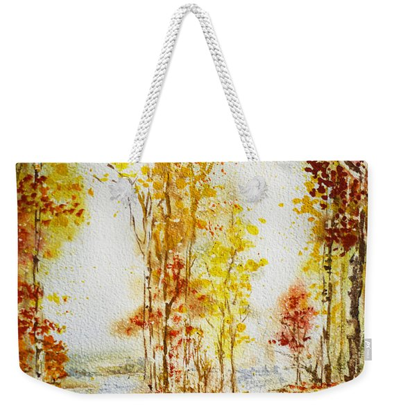 Autumn Forest Falling Leaves Weekender Tote Bag