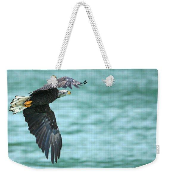 Bald Eagle Flying Over River, Haines Weekender Tote Bag