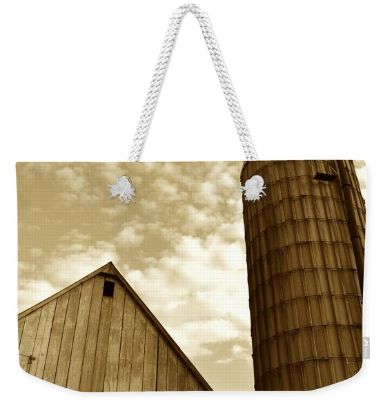 Barn And Silo In Sepia Weekender Tote Bag
