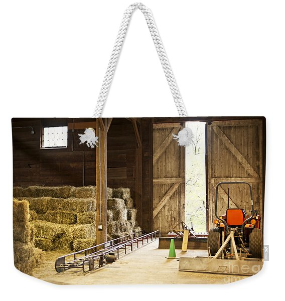 Barn With Hay Bales And Farm Equipment Weekender Tote Bag