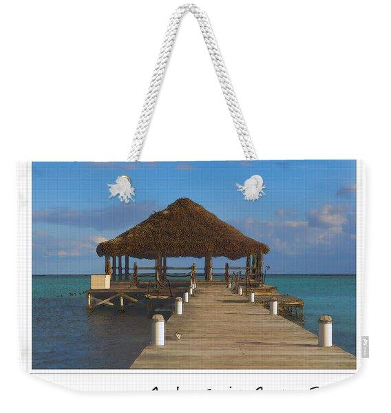 Beach Deck With Palapa Floating In The Water Weekender Tote Bag
