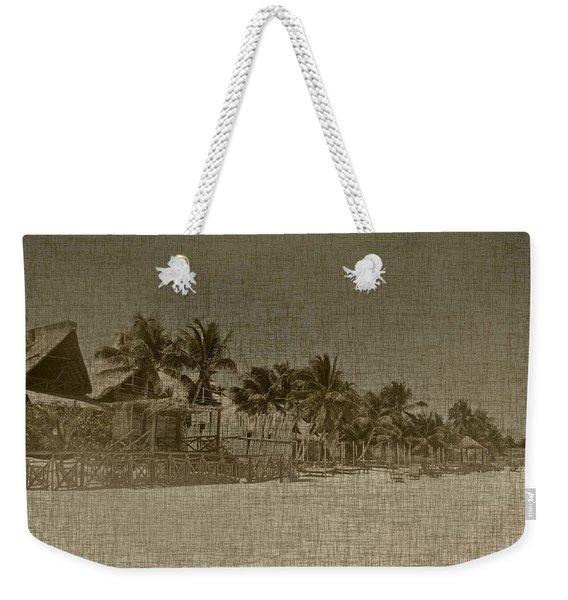 Beach Huts In A Tropical Paradise Weekender Tote Bag
