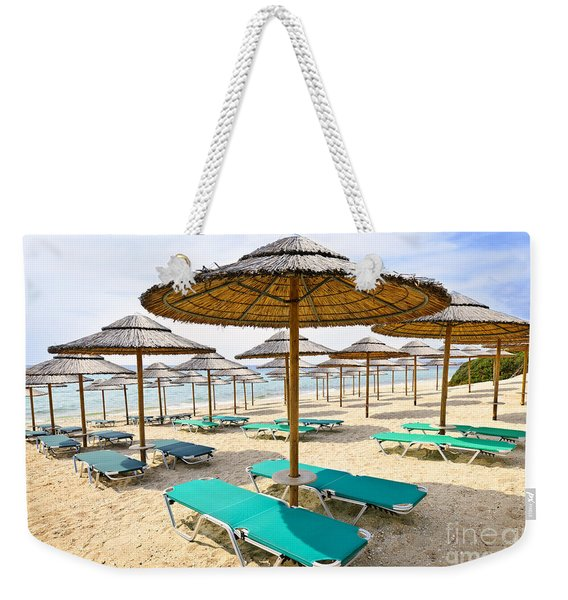 Beach Umbrellas On Sandy Seashore Weekender Tote Bag