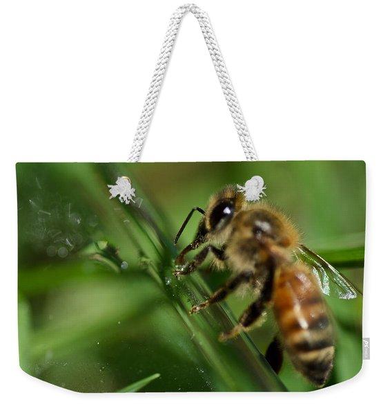 Bee In Green Weekender Tote Bag