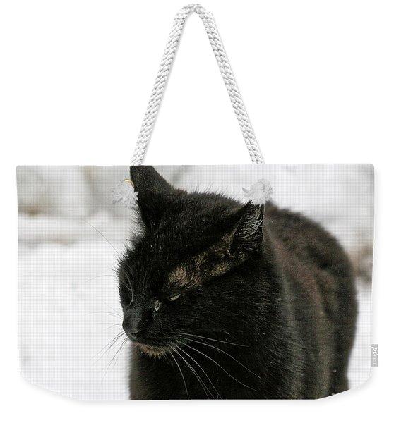 Black Cat White Snow Weekender Tote Bag