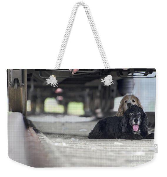 Blonde And Black Dogs Weekender Tote Bag