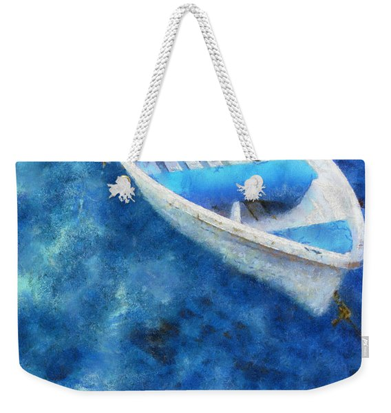 Blue And White. Lonely Boat. Impressionism Weekender Tote Bag