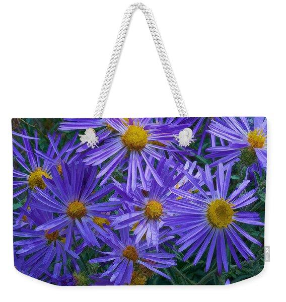 Blue Asters Weekender Tote Bag