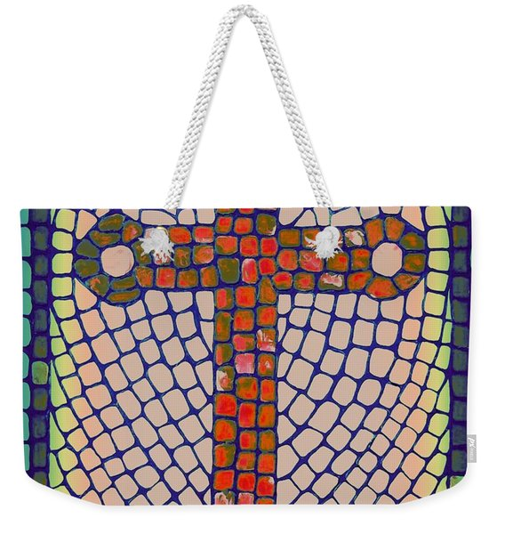 Weekender Tote Bag featuring the painting Blue Cross by Cynthia Amaral