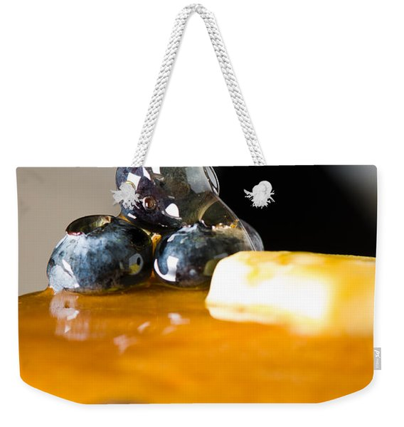 Blueberry Butter Pancake With Honey Maple Sirup Flowing Down Weekender Tote Bag