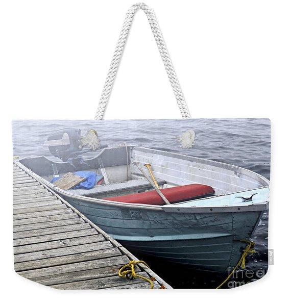Boat In Fog Weekender Tote Bag
