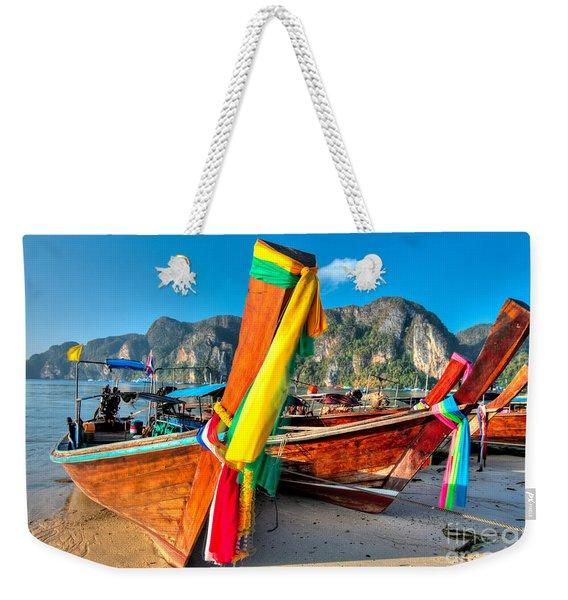 Boats At Phi Phi Island Weekender Tote Bag
