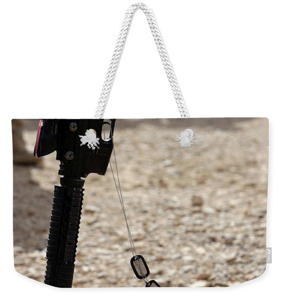 Boots, A Helmet, Rifle And Dog Tags Weekender Tote Bag