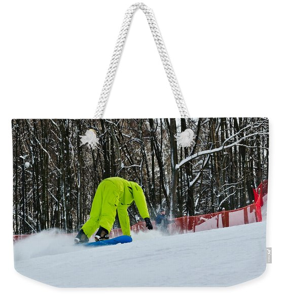 Weekender Tote Bag featuring the photograph Braking by Michael Goyberg