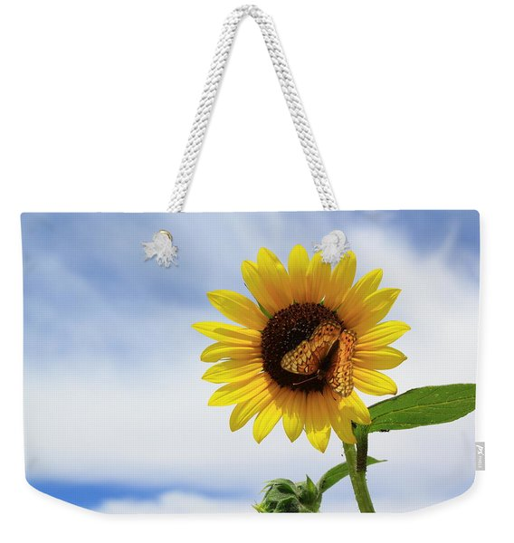 Butterfly On A Sunflower Weekender Tote Bag