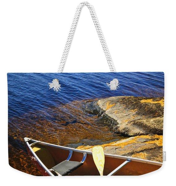 Canoe On Shore Weekender Tote Bag