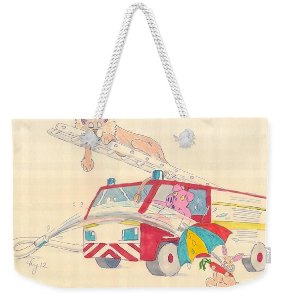 Cartoon Fire Engine And Animals Weekender Tote Bag