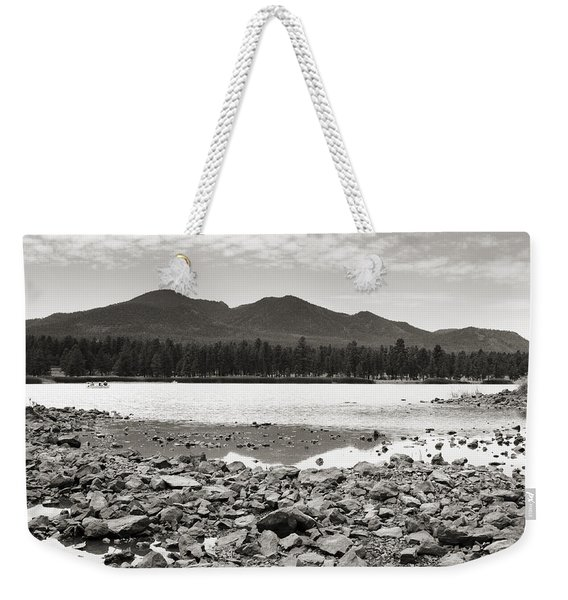 Cataract Lake Black And White Weekender Tote Bag