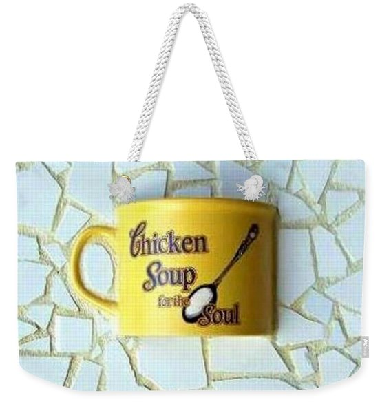 Weekender Tote Bag featuring the mixed media Chicken Soup For The Soul by Cynthia Amaral